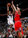 Chicago Bulls v Atlanta Hawks - Game Three, Atlanta, GA - MAY 6: Jeff Teague and Joakim Noah Photographic Print by Kevin Cox