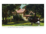 Pigeon Cove, Massachusetts - View of the Witch House, Cow in Front Yard Prints by  Lantern Press
