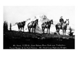 Salmon River Park, Oregon - Man with Horses, Mt Hood in Distance Poster by  Lantern Press