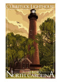 Currituck Lighthouse - Outer Banks, North Carolina Art by  Lantern Press