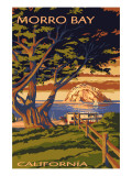 Morro Bay, California Town View with Morro Rock Poster Prints by  Lantern Press