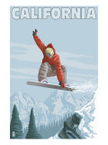 California - Snowboarder Jumping Posters