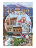 Fort Collins, Colorado Scenes Prints by  Lantern Press