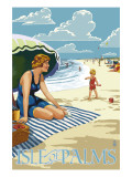 Isle of Palms, South Carolina - Beach Scene Art by  Lantern Press