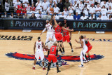 Chicago Bulls v Atlanta Hawks - Game Six, Atlanta, GA - MAY 12: Josh Smith and Joakim Noah Fotografisk tryk af Scott Cunningham