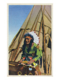View of a Native American outside of Teepee Prints by  Lantern Press