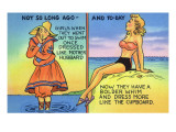 Comic Cartoon - Mother Hubbard Pun; Girls at the Beach Used to Dress Like Mother Hubbard Poster