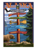 Kodiak Island, Alaska - Destination Sign Prints by  Lantern Press