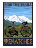 Mountain Bike Scene - Wenatchee, WA Poster van  Lantern Press