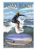 Surfer Day Scene - Pismo Beach, California Prints