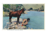 Arizona - Apache Man Drinking at Navajo Rio Posters