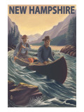 New Hampshire - Canoe on Rapids Posters