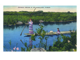 Everglades Nat'l Park, Florida - Seminole Indians in Longboat Posters by  Lantern Press