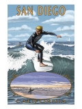 San Diego, California - Surfer Scene Prints by  Lantern Press