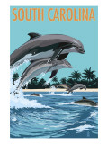 South Carolina - Dolphins Swimming Art