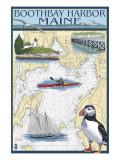 Boothbay Harbor, Maine - Nautical Chart Art by  Lantern Press