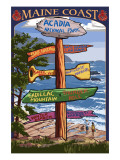 Acadia National Park, Maine - Sign Destinations Poster von  Lantern Press