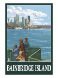 Bainbridge Island, WA - Ferry and Seattle Prints by  Lantern Press