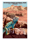 Petrified Forest National Park - Arizona Art by  Lantern Press