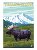Yellowstone Nat'l Park - Moose & Mountain Prints by  Lantern Press