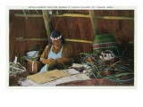St. Ignace, Michigan - Native American Woman Basket Weaving Posters by  Lantern Press