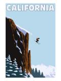 California - Skier Jumping Art by  Lantern Press