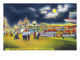 Wildwood-by-the-Sea, New Jersey - Funchase and Roller Coaster in the Moonlight Prints by  Lantern Press