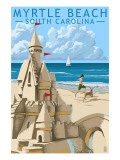 Myrtle Beach, South Carolina - Sandcastle Poster by  Lantern Press