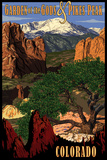 Pikes Peak from Garden of the Gods, Colorado Posters by  Lantern Press