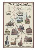 The Freedom Trail - Boston, MA Print by  Lantern Press