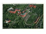 Dayton, Ohio - University of Dayton Aerial of Campus and Stadium Prints