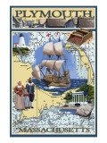 Plymouth, Massachusetts - Nautical Chart Posters by  Lantern Press