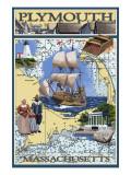 Plymouth, Massachusetts - Nautical Chart Posters