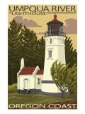 Umpqua River Lighthouse - Oregon Reproduction giclée Premium par  Lantern Press