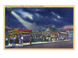 Old Orchard Beach, Maine - Amusement Center at Night View Art by  Lantern Press