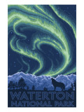 Waterton National Park, Canada - Northern Lights & Wolf Posters
