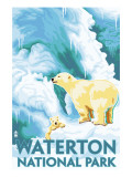 Waterton National Park, Canada - Polar Bear & Cub Print by  Lantern Press