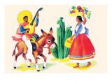 Burro Rider Serenades La Senorita Prints