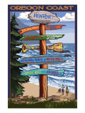 Oregon Coast Destinations Poster by  Lantern Press