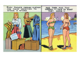 Comic Cartoon - Women Pack Too Much, Then Wear Too Little Posters