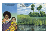 Florida - Seminole Mother and Baby, View of Everglades Prints by  Lantern Press