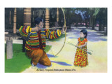 Miami, Florida - Tropical Hobbyland; Seminole Dad Showing Daughter Archery Prints