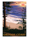 Oregon Coast Sunset Surfers Art by  Lantern Press