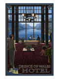 Waterton National Park - Prince of Wales Hotel Interior Affiches par  Lantern Press