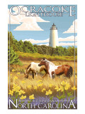 Ocracoke Lighthouse - Outer Banks, North Carolina Prints by  Lantern Press