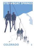 Steamboat Springs, Ski Lift Reprodukcje autor Lantern Press