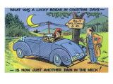 Comic Cartoon - Car Out of Gas; Lucky Break in Courting Days, now Just Pain in Neck Prints by  Lantern Press
