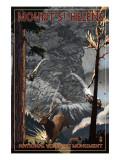 Mount St. Helens - Eruption Scene with Elk Prints