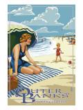 Outer Banks, North Carolina - Woman on Beach Prints by  Lantern Press
