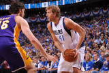 Los Angeles Lakers v Dallas Mavericks - Game Four, Dallas, TX - MAY 8: Dirk Nowitzki and Pau Gasol Photographic Print by Andrew Bernstein